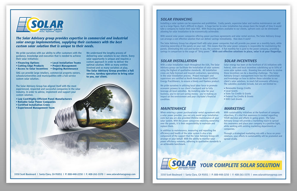 Solar Advisory Group Identity Package Marketing Flyer