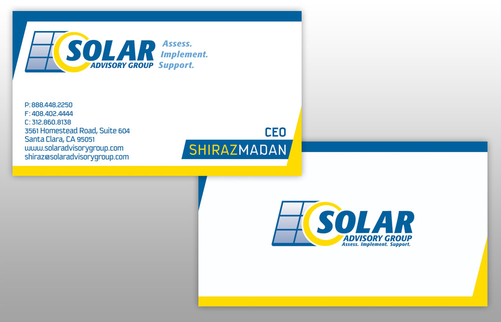 Solar Advisory Group Identity Package - Business Card Design