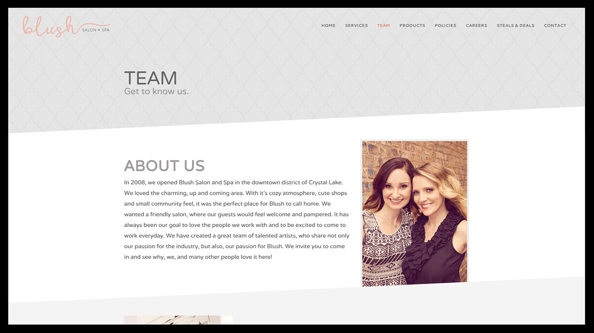 Blush Salon & Spa Website Design - Team Page