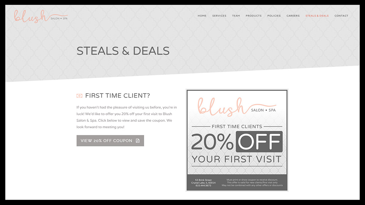 Blush Salon & Spa Website Design - Steals & Deals Page