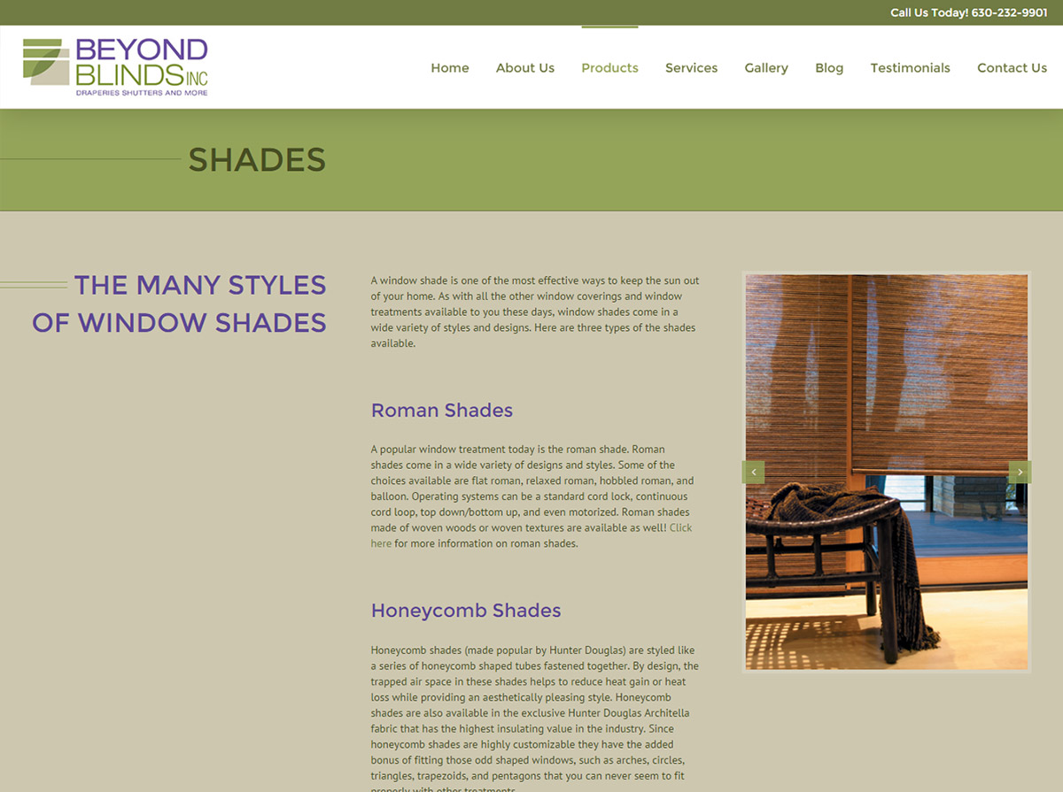 Beyond Blinds, Inc. WordPress Website Design - Product Page