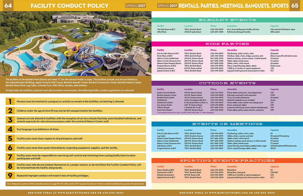 Bartlett Park District Spring 2017 Layout - Facilities and Rentals