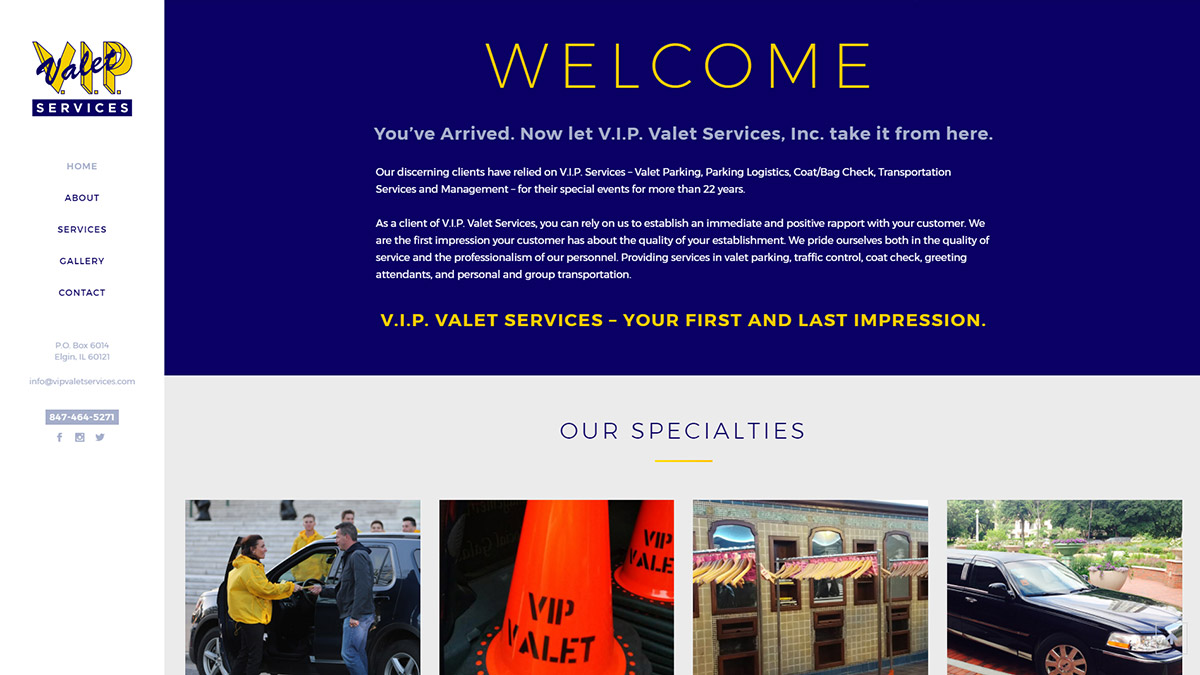 V.I.P. Valet Website Design Homepage Layout