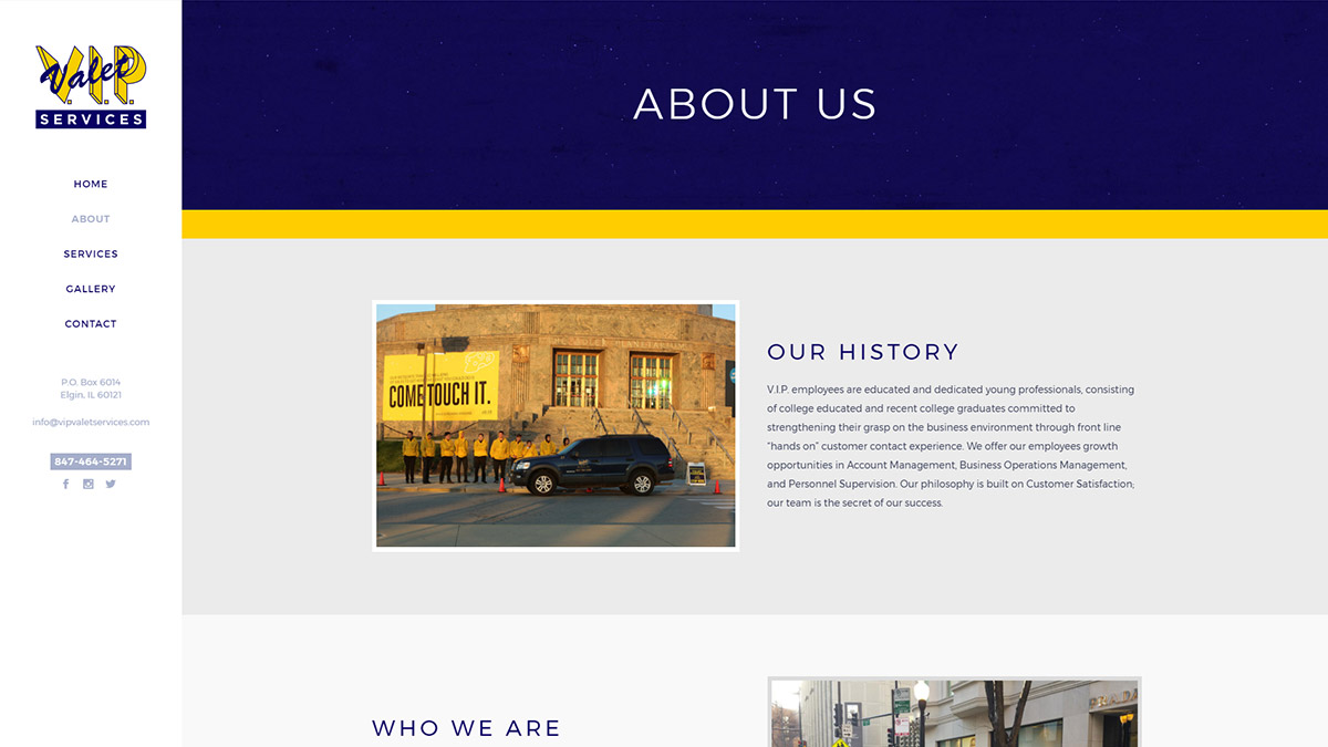 V.I.P. Valet Website Design About Us Page