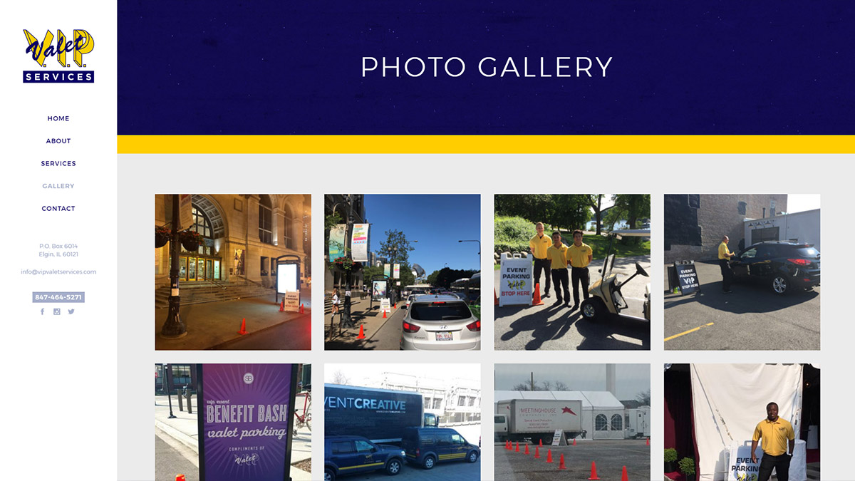 V.I.P. Valet Website Design Photo Gallery